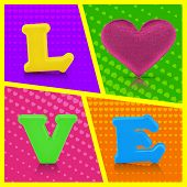 Love Word And Heart Shape On Colorful Background