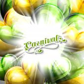 vector illustration of Carnival lettering label on the flying balloon hearts background with shiny e