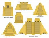 stock photo of pyramid  - A set of Aztec pyramids including templo mayor - JPG