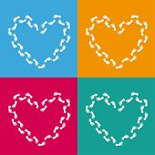 4 Colored Backgrounds Hearts