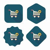 Shopping Cart Flat Icon With Long Shadow,eps10