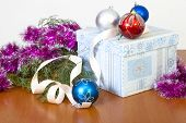Tinsel, Spheres For An Ornament Of A Fur-tree And A Gift In Beautiful Packing