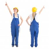 Front And Back View Of Woman In Builder Uniform Pointing At Something Isolated On White