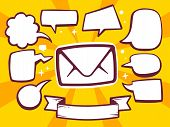 Illustration Of Envelope With Speech Comics Bubbles On Yellow Background.