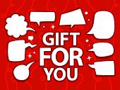Illustration Of Gift For You With Speech Comics Bubbles On Red Background.