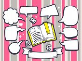Illustration Of Open Book With Speech Comics Bubbles On Pink Pattern Background.