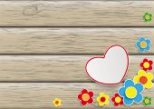Flowers Heart Wooden Background