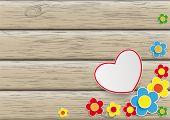 Flowers Heart Wooden Background