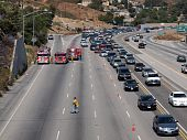 Brush Fire Traffic Jam On 118 Fwy