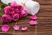 Set of rose with petals and towel on mat