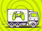 Illustration Of Truck Free And Fast Delivering Joystick To Customer On Green Background.