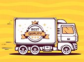 Illustration Of Truck Free And Fast Delivering With Label Of Best Quality To Customer On  Yel