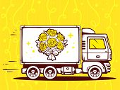 Illustration Of Truck Free And Fast Delivering Bouquet Of Flowers To Customer On Yellow Backg