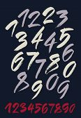 Vector Set Of Calligraphic Acrylic Or Ink Numbers. Dark Background.