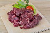 foto of deer meat  - Raw wild venison meat  - JPG