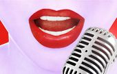 image of singing  - Singing woman and retro microphone - JPG