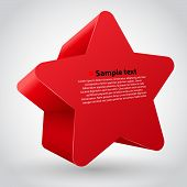 Red vector star with text.