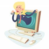 Happy Woman with Calling Card in Monitor Center Support Internet Business Concept on Stylish Backgro
