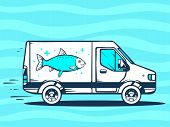 Illustration Of Van Free And Fast Delivering Fish To Customer On Blue Background.