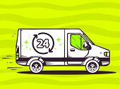 Illustration Of Van Free And Fast Delivering 24 Hours To Customer On Green Background.