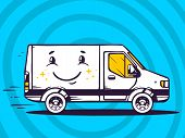 Illustration Of Van With Smile Free And Fast Delivery To Customer On Blue Background.