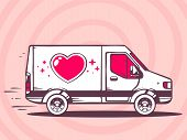 Illustration Of Van With Heart Free And Fast Delivery To Customer On Pink Background.