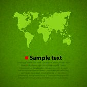 Green world map vector background.