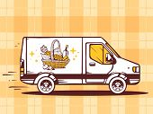 Illustration Of Van Free And Fast Delivering Basket With Food To Customer On Yellow Pattern B