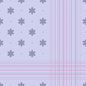 Seamless ornament with blue flowers and pink lines