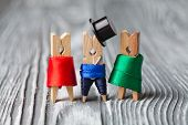 Clothespins. Romantic People: Man, Women. Meeting. Vintage Wood Background. Soft Focus.