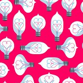 Vintage Colored Light Bulbs Seamless Pattern.