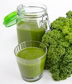 Green Smoothie Glass And Jar With Fresh Kale