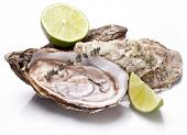 Raw oyster and lemon isolated on a white background.
