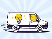 Illustration Of Van Free And Fast Delivering Light Bulb To Customer On Blue Background.