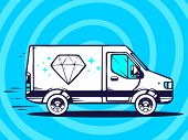 Illustration Of Van Free And Fast Delivering Diamond To Customer On Blue Background.