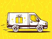 Illustration Of Van Free And Fast Delivering Gift Box To Customer On Yellow Background.