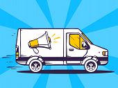 Illustration Of Van Free And Fast Delivering Megaphone To Customer On Blue Background.