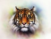 Painting Of A Bright Mighty Tiger Head On A Soft Toned Abstract Background