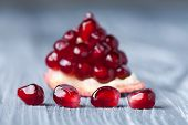 Pomegranate seeds Macro view. (Soft focus)