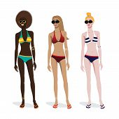 Three girls of different skin types in a bathing suit. Dark,brown,light skin tones