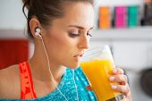Fitness Young Woman Drinking Pumpkin Smoothie
