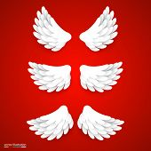 Artificial white paper wings set.