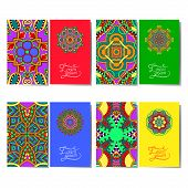 collection of ornamental floral business cards
