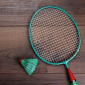 shuttlecock and badminton racket