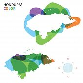 Abstract vector color map of Honduras with transparent paint effect.