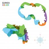 Abstract vector color map of Guinea with transparent paint effect.