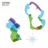 Abstract vector color map of Guyana with transparent paint effect.