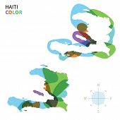 Abstract vector color map of Haiti with transparent paint effect.