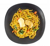 Top Viiew Of  Stir Fried Yellow Noodles With Meat And Vegetable