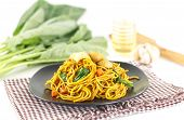 Dish Of Stir Fried Yellow Noodles With Meat And Vegetable